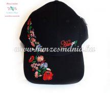 Baseball cap - Hungarian embroidery - Kalocsa style - black