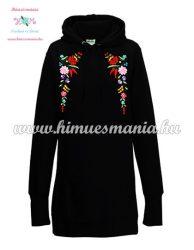 Kalocsai mintás kapucnis pulóver ruha - kézi hímzés - fekete