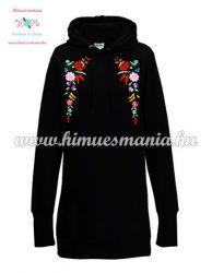 Lognline hoodie - folk embroidered - Kalocsa style - handmade - black