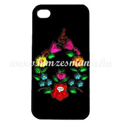 Phone case - hungarian folk drop-shaped pattern - Kalocsa style - iPhone - Samsung - black