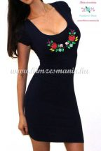 Women's dress - short sleeve - hungarian folk - machine embroidery - Kalocsa motif - black