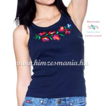 Top - machine embroidery - Hungarian Matyo style - navy - Embroidery Mania