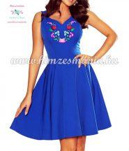 Women's dress - folk embroidery - handmade - Kalocsa motif - Blue