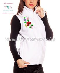Fleece vest - folk embroidery from Hungary - Kalocsa motif - white
