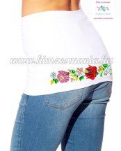 Fehér női derékmelegítő kalocsai mintás hímzett