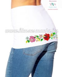 Waist Warmer - folk embroidery - white