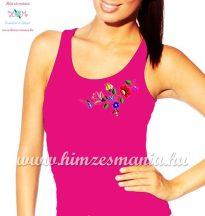 Tank top - hungarian folk embroidery - Kalocsa motif - pink