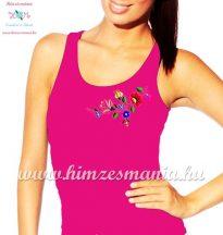 Kalocsai hímzett női top - Hímzésmánia - pink