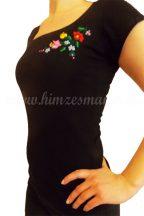 Hímzésmánia póló kalocsai mintával - fekete