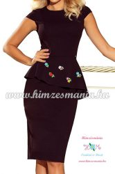 Elegant women's dress - hungarian folk embroidered - handmade - Matyo style- black