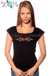 Embroidery Mania - T-shirt Matyo folk machine-embroidered - black