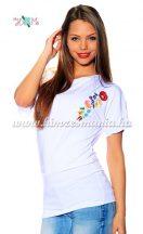 Bet sleeve tunic - hungarian folk machine embroidered - Kalocsa style - white