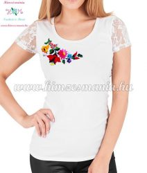 Short-sleeved lace women top - traditional folk hand embroidery - hungarian motif - White
