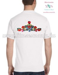 Men's Short Sleeve T-Shirts - hungarian folk embroidery - handmade - Matyo pattern - white