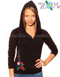 Embroidery Mania - T-shirt long sleeve hungarian folk machine-embroidered - Kalocsa style - black