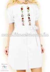 Women's tunic - short sleeves - folk machine embroidery - Kalocsa motif - white