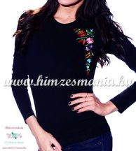 Ladies long sleeve T-shirt - hungarian folk machine embroidery - Kalocsa pattern - black
