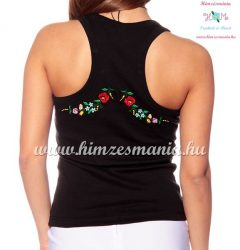 Tank top - machine embroidery - hungarian folk design- Kalocsa style - black - Embroidery Mania