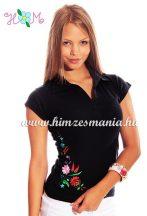 Women cap sleeves polo shirt - hungarian folk machine embroidery - Kalocsa style - black