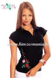 Women cap sleeves polo shirt - hungarian folk machine embroidery - Kalocsa style - black