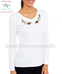 Women's long sleeve V-neck T-shirt - folk embroidery - hungarian style - white