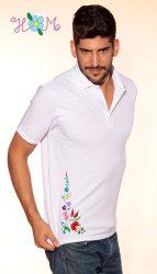 Men's polo shirt - folk machine embroidery - Kalocsa pattern - white - Embroidery Mania