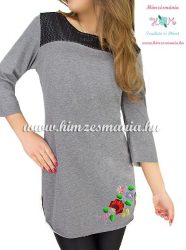Tunic - hungarian folk machine embroidery - Kalocsa motif - dark gray