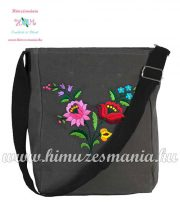 Shoulder bag - hungarian folk embreoidered - Kalocsa style - gray