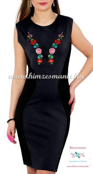 2a0d30069e Ujjatlan női ruha elején-hátulján kalocsai kézi hímzéssel - Hímzésmánia -  fekete