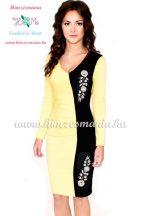 Elegant dress long sleeve - hungarian folk machine-embroidery - Kalocsai style - yellow