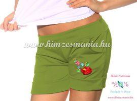 Short - hungarian folk machine embroidery - Kalocsa style - sorrel-green