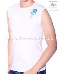 MEN SLEEVLESS T-SHIRT - hungarian folk machine-embroidery - Kalocsa rosa - white
