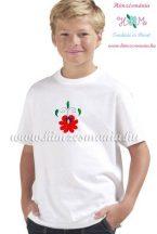 Matyó rózsával hímzett gyerek póló - fiúknak - fehér - Hímzésmánia