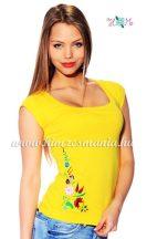 T-shirt - hungarian folk machine embroidered - Kalocsa style - yellow