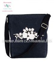 Shoulder bag - hungarian folk embreoidered - Kalocsa style - navy