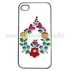 Telefon hátlap tok - csepp alakú kalocsai mintás - iPhone - Samsung - szilikon/műanyag - fehér