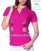 Women polo shirt - hungarian folk  machine embriodery - Kalocsai design - fuchsia
