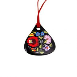 Pendant teardrop - hungarian folk motif - Kalocsa style - black