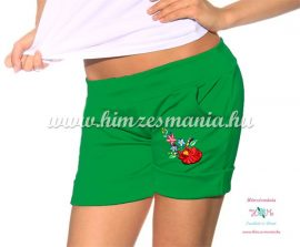 Short - hungarian folk machine embroidery - Kalocsa style - emerald