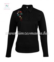 Women polo shirt - long sleeve - machine embroidery - Kalocsa style - black