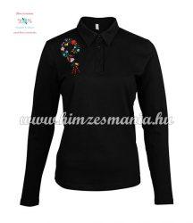 Kalocsai mintás női pólóing - gépi hímzés - fekete