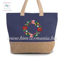 Large cotton and jute (juco) shopper bag - folk embroidery - Kalocsa style - denim blue