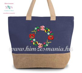 Large cotton and jute (juco) shopper bag - folk embroidery - Kalocsa style - denim blue