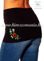 Waist Warmer - folk flower - machnine embroidery - Kalocsa style - black