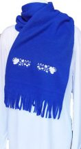 Polar scarf - hungarian folk machine-emboridery - Kalocsai style - unisex - royal blue
