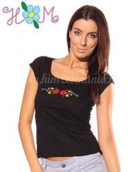 Hímzésmánia - matyó póló - fekete