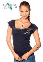 Hímzésmánia - kalocsai póló - kék (XL)