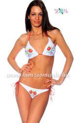 Bikini - hungarian folk motif - Kalocsa style - white