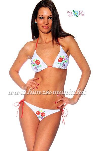 59b6d438cf Kalocsai mintás bikini - kivehető szivacsos - fehér - Hímzésmánia ...