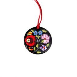 Pendant round - hungarian folk motif - Kalocsa style - black